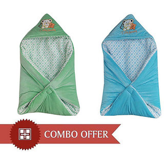 Combo Of Garg Teddy Family Hooded Shearing Velvet Sea Green  Sky Blue Baby Blanket