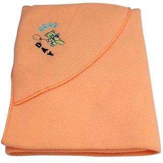 Garg Good Day Teddy Polar Fleece Hooded Peach Baby Blanket