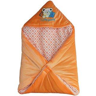 Garg Teddy Family Hooded Shearing Velvet Orange Baby Blanket