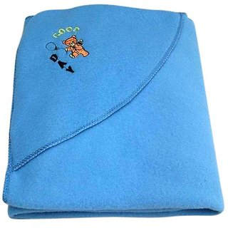 Garg Good Day Teddy Polar Fleece Hooded Blue Baby Blanket