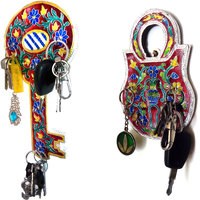 Handmade Meenakari Decorative Wall Mounted Key Stand/Holder - Key Design - 1 Pc Only