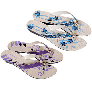 IndiWeaves Womens Purple  Blue Casual Slippers (Pack of 2 Pair) (8700887010-IW)