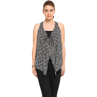 Rena Love Black Rayon Printed V-Neck Top