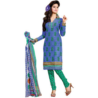 Fabdeal Blue Colored Pure Cotton Printed Salwar Kameez FGRDR9002VU