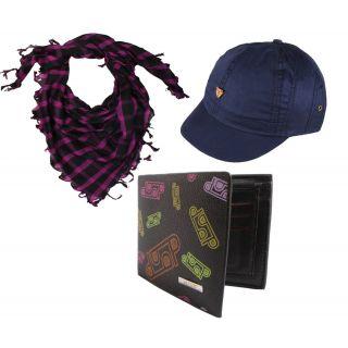 Sushito Designed Black Wallet Combo Cap  Summer Protect Scarf JSMFHWT0454-JSMFHHR0244