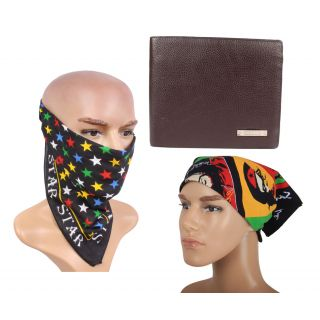 sushito Bovis Casual Brown Wallet Combo Summer Headwraps JSMFHWT0455-JSMFHHR0191