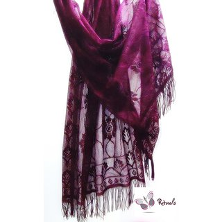 Fashion Stylish Net Stole-burgundy