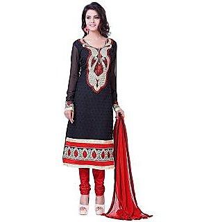 Women Georgette Karachi Unstitched Salwar Suit Dress Material (Black)