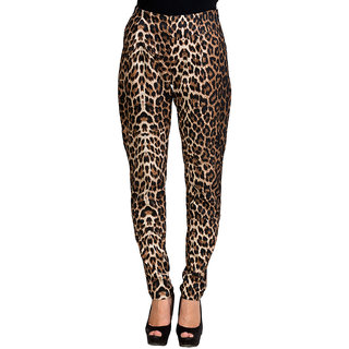 Oxolloxo Brown Polyester Printed Pant For Women