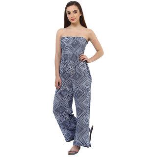 Oxolloxo Blue Viscose Printed Jumpsuit