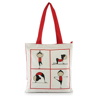 VogueTree Peppy Canvas tote bagsYOGA-TOTEWHITE