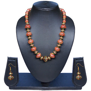 Beautiful pearl nad Meena beads Necklace and Earring Set 1001