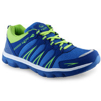 Lancer Men's Blue and Neon Green Lace-Up Sports Shoes