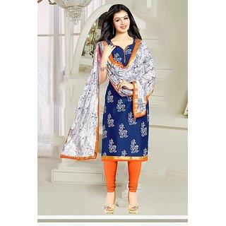 Sareemall Blue Cotton Printed Salwar Suit Dress Material