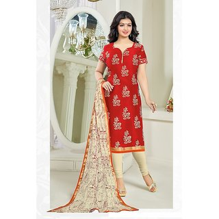 Sareemall Maroon Cotton Printed Salwar Suit Dress Material