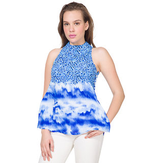 Tokyo Talkies White Mandarin Collar Sleeveless Womens Crop Tops