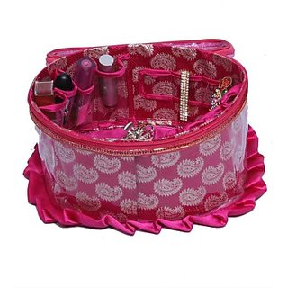 Kuber Industries Make Up kit Jewellery Vanity Multi Purpose         (Pink) 165