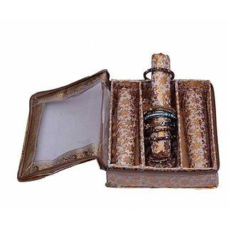 Kuber Industries Bangle Three Roll Box Jewellery Vanity Multi Purpose         (Gold) 122