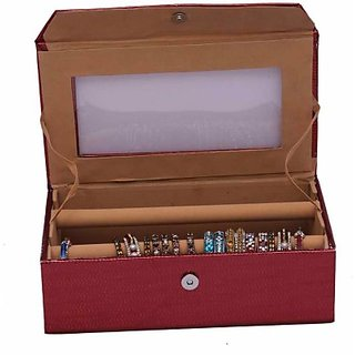 Kuber Industries Bangle Two Roll Jewellery Vanity Multi Purpose         (Maroon) 105
