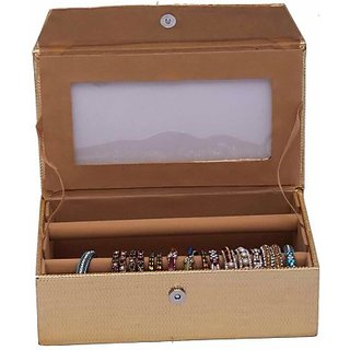 Kuber Industries Bangle Two Roll Box Jewellery Vanity Multi Purpose         (Gold) 126