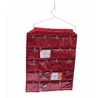 Kuber Industries Make Up Hanging with 20 Pockets Jewellery Vanity Multi Purpose         (Maroon) 75