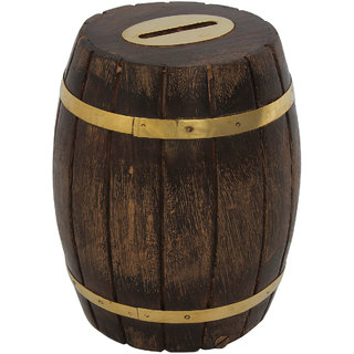 Craft Art India Handcrafted Wooden Barrel Shape Money Bank /Piggy Bank / Coin Boxcai-Hd-0023-C
