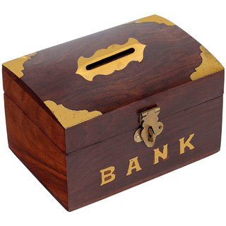 Craft Art India Brown Handmade Wooden Rectangular Money Bank / Piggy Bank / Coin Boxcai-Hd-0198-C