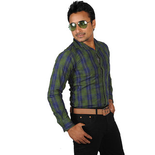 Yepvi Mens Green With Blue Casual Shirt