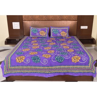 Factorywala Traditional Floral Print Purple Color Cotton Double Bed Sheet with 2 Pillow Covers