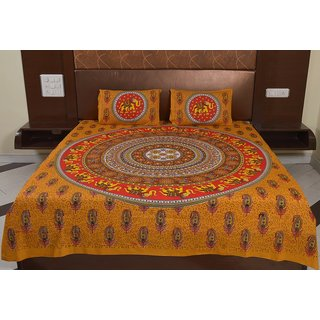 Factorywala Traditional Classic Print Yellow Color Cotton Double Bed Sheet with 2 Pillow Covers