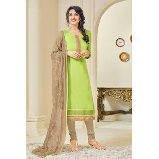 Sareemall Parrot Green Embroidered Chanderi Dress Material With Heavy Embroidered Matching Dupatta NXA1002