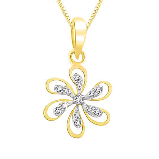 Sparkles 0.07 Ct. Beautiful 18Kt Gold & Diamond Pendant (Design 5)