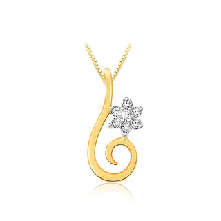 Sparkles 0.07 Ct. Beautiful 18Kt Gold & Diamond Pendant (Design 6)