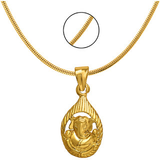Mahi Exa Collection Ganesh Drop Gold Plated Religious God Pendant with Chain for Men Women PS6012013G