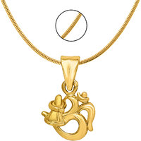 Mahi Exa Collection Om Shivalinga Gold Plated Religious God Pendant with Chain for Men  Women PS6012018G