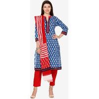Varanga Blue Cotton Printed Unstitched Dress Material