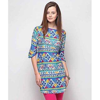 Yepme Blue Polyester Printed Casual Kurti
