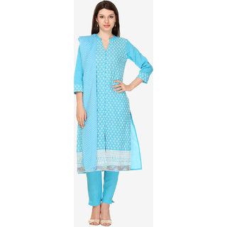 Varanga Blue Cotton Embroidered Unstitched Dress Material