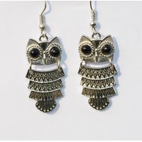 WF Vintage SILVER Cute Owl Dangle Hook Drop Earrings For Women Jewelry