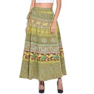 Saffron Craft Women Full Length Cotton Printed Wrap Around Skirt