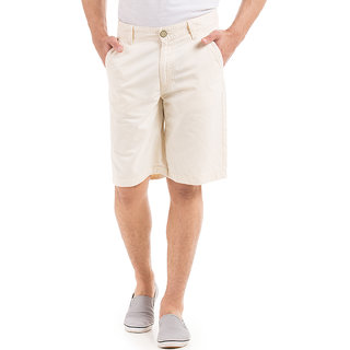 Flying Machine Yellow Knee Length  Mens Chinos Shorts