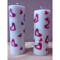 Decorative Heart Border Candle-6X1.5 Inches
