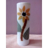Decorative Sunflower Embossed Candle-6X1.5 Inches