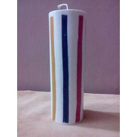 Decorative Strip Embossed Candle-6X1.5 Inches