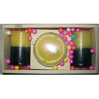 Gift Of 2 Small Double Shade Candles & 1 Gel Candle