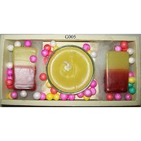 Gift Of 2 Small Rectangular Multi-Color Chips Pillar Candles And 1 Gel Candle