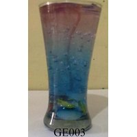 Gel Candle Glass With Multi-Colored Stones