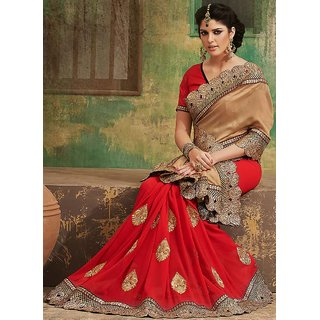 Pompous Beige Georgette Embroidered Saree available at ShopClues for Rs.6035