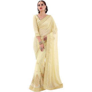 The Ethnic Chic Cream Colored Brasso Saree