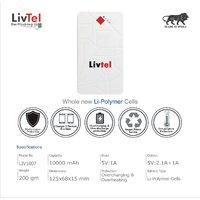Livtel Liv-1007 Li-Polymer Power Bank Dual Port Reversible Micro-USB Cable 10000 MAh -White - 6 Months Warranty